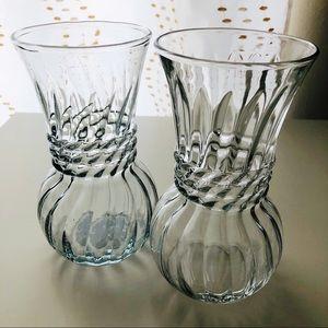 2 Anchor Hocking Clear Glass Vintage Rib Vases USA